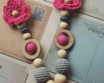 Breastfeeding and Babywearing necklace. natural wood