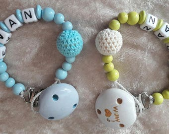 Pacifier wood simple beads and letters