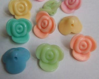 10 pearls flowers acrylic 15x15mm