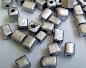 150 seed beads 3x5mm grey square cubes