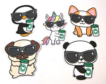 Planner Die Cuts - Coffee Cup Die Cut - TN Pocket Die Cut - Planner Decoration - Unicorn Die Cut - Dog Die Cut - Panda - Penguin