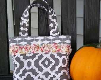 Little girls purse, little girls handbag, little girls tote, gray/white/pink girls purse