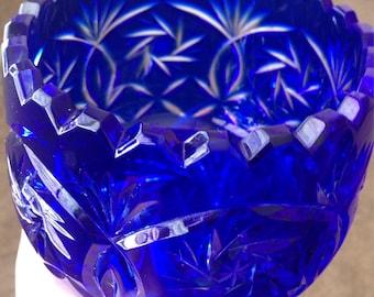Vintage Cobalt Blue Heavy Cut Lead Glass Bowl Candy Dish Nut Dish