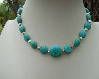 Turquoise Coin And Sterling Silver Choker With Earrings