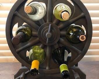 Wagon Wheel Wine Rack, Rolling Pin Holder, Repurposed Wine Rack