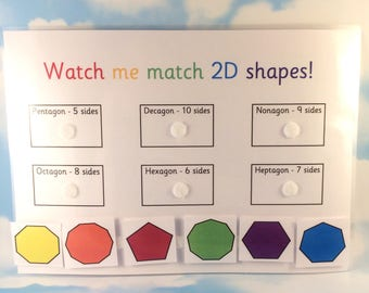 2D shapes matching learning sheet, KS1, year 1, year 2, Educational toy, Children's development, Velcro backed, Interactive learning