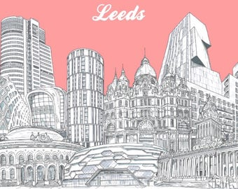 Leeds Collage Print (A3 size)