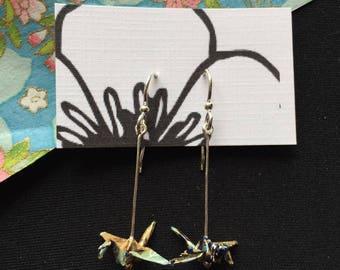 Origami Crane Drop Earrings