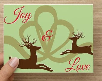 Christmas Card 10 Pack Box Set, Holiday Card, Peace and Love, Deer, Reindeer, Greeting Cards, Holiday Cards, Christmas Cards, Holiday