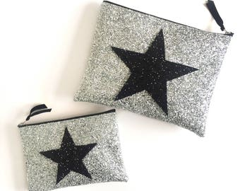 Star Bag, Star Clutch Bag, Glitter Bag, Cosmic Bag, Gift for Her, Glitter Clutch Bag, Bridesmaid Gift, Glitter Make Up Bag, Sparkle Clutch