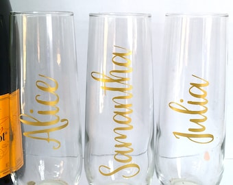 Personalized Champagne Flutes - Custom Bridesmaid Maid of Honor - Gold Personalized Stemless Champagne Flutes Bridal Party Gift