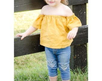 Baby Crop Top, Boho Baby Clothes, Baby Mustard Top, Girls Mustard Top, Toddler Off the Shoulder Top, Girls Crop, Girls Boho Crop Top