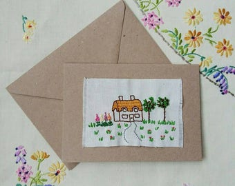 Hand embroidered 'Country cottage' greetings card