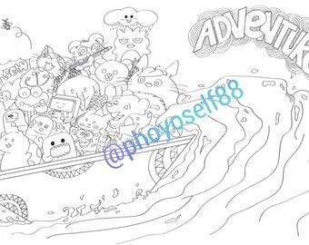 Adventure Doodle Coloring Page - Doodle Art