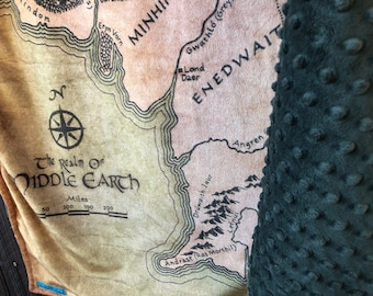 MIDDLE EARTH Map minky blanket - double-sided minky baby cuddle blankie - wheelchair, lap, or shoulder blanket - 33 by 47 inches