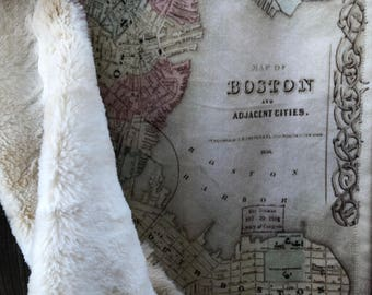 BOSTON map blanket - MA map baby minky security blankie - Massachusetts small travel blanky, lovey, woobie - 15 by 20.5 inches