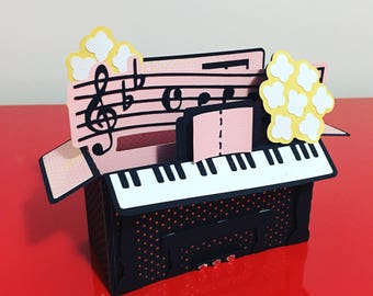 Piano Music Box Card