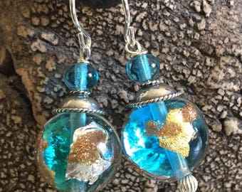 Iridescent Turquoise Murano Glass earrings featuring Venetian Luna design with Sterling Silver
