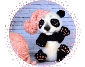 Panda Needle Felted Panda Teddy Bear  Animal Panda Panda wool Toy bear Gift for her  Needle Felted Panda  Collectible Toy Panda Teddy