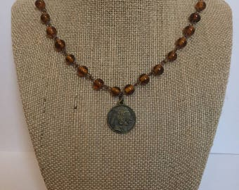 Brown beaded choker layering necklace