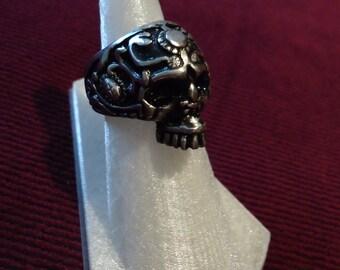 Silver Skull Ring - Skull Ring - Custom Skull Ring - Black Metal Ring - Black Metal Jewelry - Biker Ring - Silver Biker Ring - Silver Ring