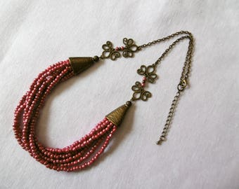 Necklace multi strand Bohemian cherry seed beads