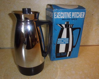 Vintage 1960's Insulated Chrome Pitcher Hot and Cold Liquids