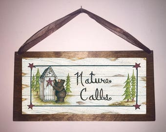 12x6 Nature Calls Country Bathroom Sign Outhouse Bath Decor Stars Bears with Choice of Black Wire or Brown Ribbon for Easy Hanging