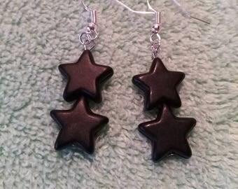 Black howlite star earrings