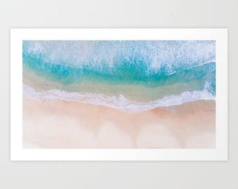 Blue Ocean Art Print, Sea Art Print, Blue Waves Wall Art, Beach Wall Art, Summer Art Print, White Sandy Beach Art Print, Beach Photography