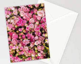 Pink Flower Stationary, Pink Floral Stationary, Romantic Pink Rose Stationary, Feminine Stationary, Blank Stationary Set, Stationary For Her
