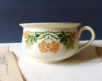 Antique Chamber POT 30s green and orange flowers PHLOX Decor Shabby chic country french vintage