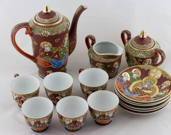 Japanese Satsuma Tea Set / Gold Moriage Fine Eggshell Tea Set/  Porcelain Tea Set Kannon Goddess of Mercy and Immortals Design