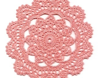 Eco Friendly Crochet Doily Lace Lacy Doilies Elegant Linen Table Decor French Romantic Shabby Chic Wedding Retro Vintage Natural Peach
