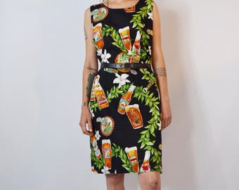 Vintage 1990's Tropical Beer Dress Size Small