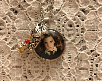 Harry Potter Themed Charm Necklace/Harry Potter Jewelry/Herimone Granger/Herimone Granger Necklace/Emma Watson Necklace/Emma Watson Jewelry