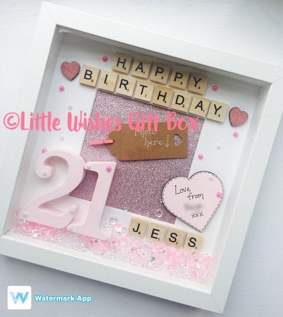 21st Birthday Personalised Box Frame / Photo Frame Happy