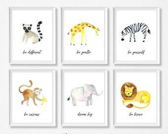 PRINTABLE, Jungle Safari Nursery Art, Jungle Animals Nursery Prints, INSTANT DOWNLOAD, Safari Animals, Lion, Leopard, Elephant, Monkey Zebra