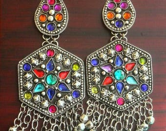 Afghani turkish style earrings with glass stones