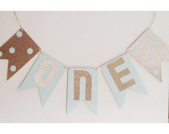 Mint Birthday Banner, Mint and Gold, Gold Banner, First Birthday