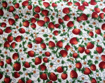 Rose+Hubble Strawberry cotton fabric - Fat Quarter min 50cm x 50cm