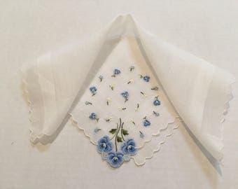 """Vintage Handkerchief / """"Something Blue"""" Pansies"""