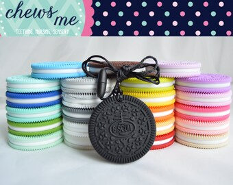 cookie biscuit oreo silicone teether teething necklace nursing necklace sensory necklace chew chewelry supply food grade Autism ADHD