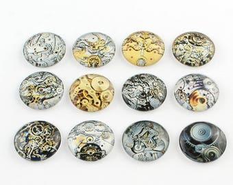 10 Machine Gear Steampunk 12mm Printed Half Round Domed Glass Cabochons (WL124)