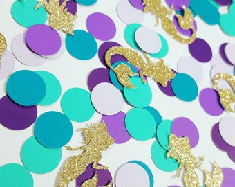 100 pcs Lite Purple, Purple, Dark Purple, Teal, Dark Teal, Gold or Silver Glitter MERMAID Confetti / Under the Sea Party / Mermaid Party