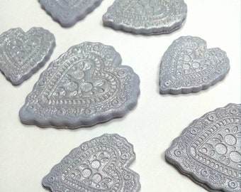 Silver heart cupcake decorations Edible fondant