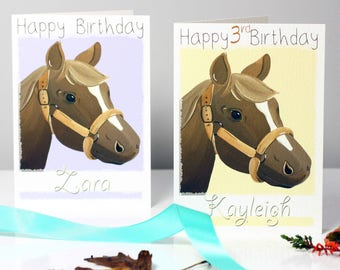 Pony Horse Birthday Card for Children, Personalised Happy Birthday Card, Any Age, Horse Greeting Card, Girls Birthday Card by Liza J design