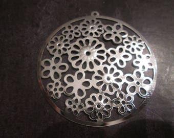 2 prints / round filigree connectors silver 46 x 42 mm