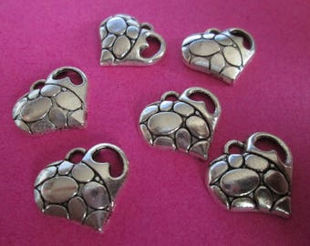 10 charms silver metal heart 19 x 17 mm