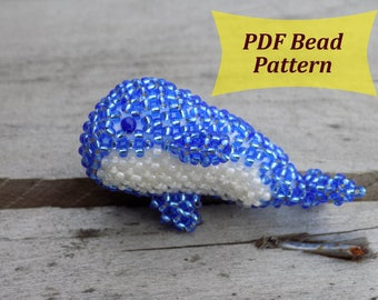 PDF beaded pattern. Whale beaded Pattern. Beaded Animal easy Pattern. Amigurumi whale. Sea creatures. Beaded tutorial. Toy pattern whale.